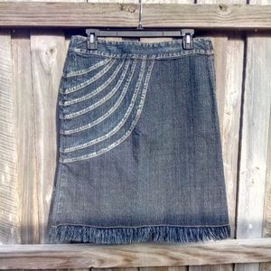 5/48 Saks Fifth Avenue Blue Jean Skirt Raw Hem